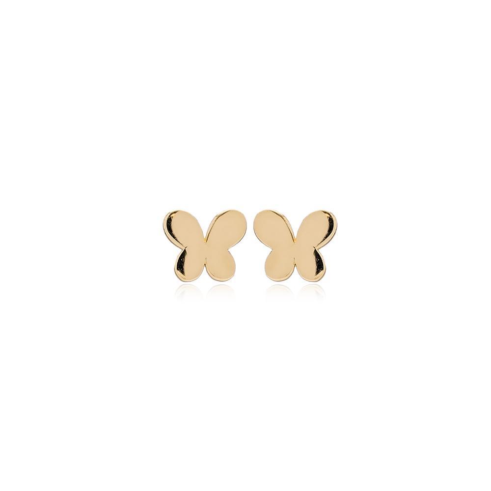 Butterfly Stud Earring Wholesale Turkish 14k Gold Earrings