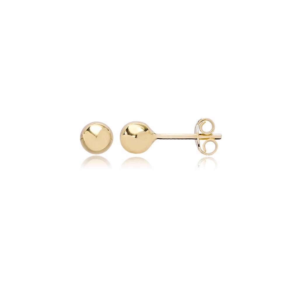 Ball Stud Earring Wholesale Turkish 14k Gold Earrings