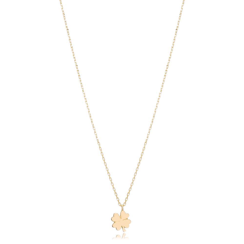 14K Gold Clover Pendant Turkish Wholesale Gold Jewelry