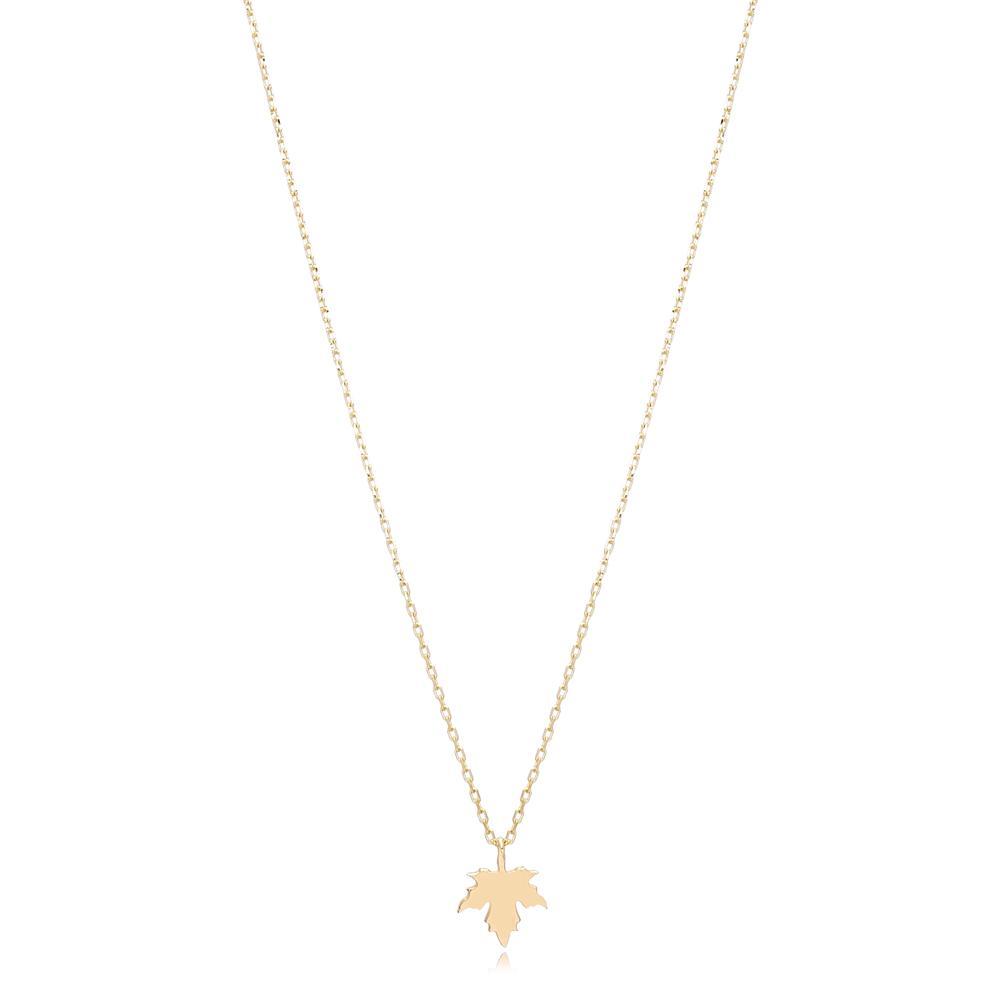 14K Gold Maple Leaf Pendant Turkish Wholesale Gold Jewelry