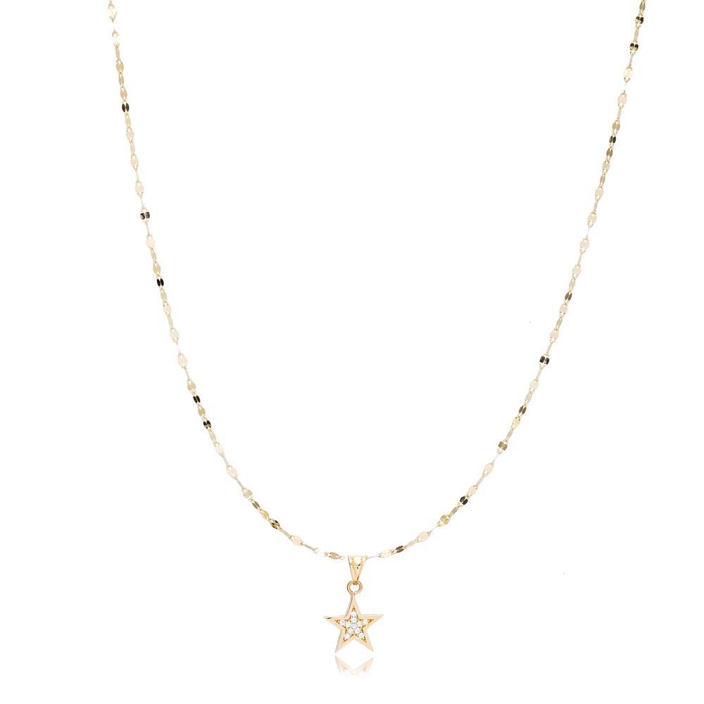 14K Gold Zircon Star Pendant Turkish Wholesale Gold Jewelry