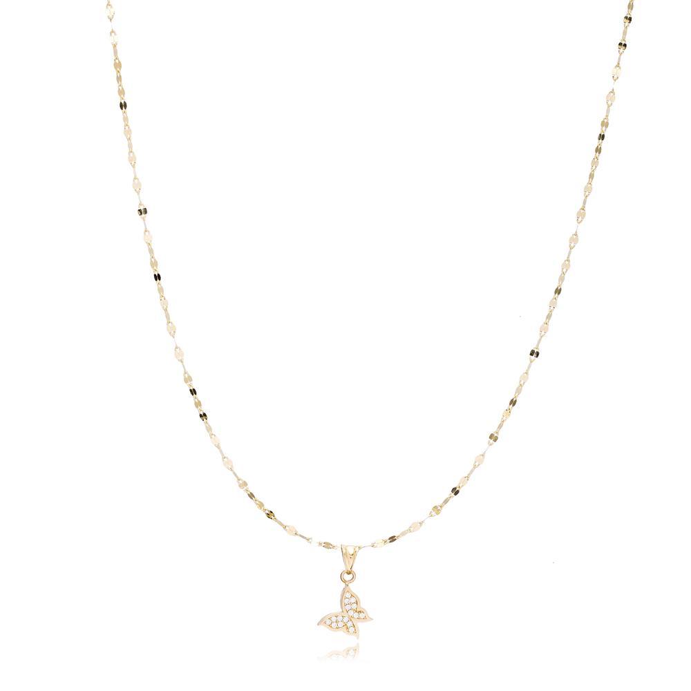 14K Gold Zircon Butterfly Pendant Turkish Wholesale Gold Jewelry