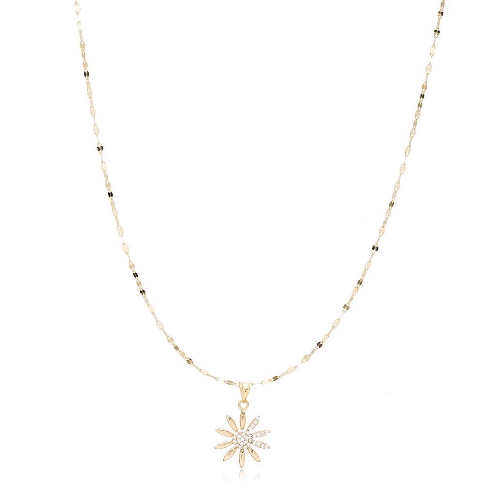 14K Gold Zircon Sun Pendant Turkish Wholesale Gold Jewelry